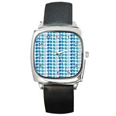 Blue Green Leaf Pattern Square Leather Watch by creativemom