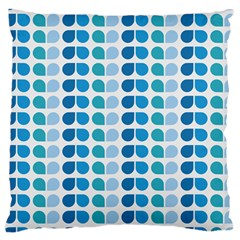 Blue Green Leaf Pattern Large Cushion Case (single Sided)  by creativemom