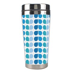 Blue Green Leaf Pattern Stainless Steel Travel Tumbler by creativemom