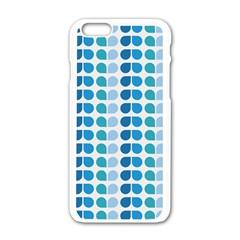 Blue Green Leaf Pattern Apple Iphone 6 White Enamel Case by creativemom