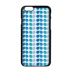 Blue Green Leaf Pattern Apple Iphone 6 Black Enamel Case by creativemom