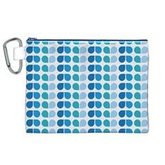 Blue Green Leaf Pattern Canvas Cosmetic Bag (xl)