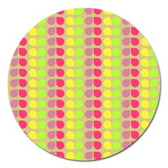 Colorful Leaf Pattern Magnet 5  (round) by creativemom