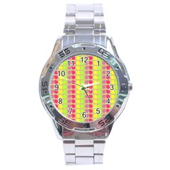 Colorful Leaf Pattern Stainless Steel Watch by creativemom