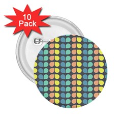 Colorful Leaf Pattern 2 25  Button (10 Pack) by creativemom