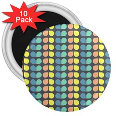 Colorful Leaf Pattern 3  Button Magnet (10 Pack) by creativemom
