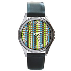 Colorful Leaf Pattern Round Leather Watch (silver Rim) by creativemom