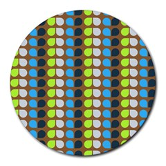 Colorful Leaf Pattern 8  Mouse Pad (round) by creativemom