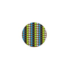 Colorful Leaf Pattern 1  Mini Button Magnet by creativemom