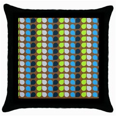 Colorful Leaf Pattern Black Throw Pillow Case by creativemom