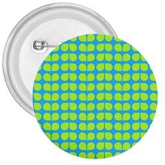 Blue Lime Leaf Pattern 3  Button by creativemom