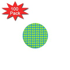 Blue Lime Leaf Pattern 1  Mini Button (100 Pack) by creativemom
