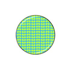 Blue Lime Leaf Pattern Golf Ball Marker (for Hat Clip) by creativemom