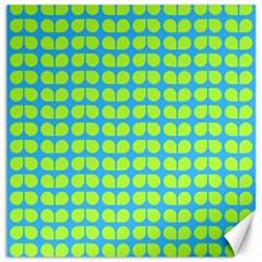 Blue Lime Leaf Pattern Canvas 12  X 12  (unframed) by creativemom