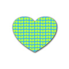Blue Lime Leaf Pattern Drink Coasters 4 Pack (heart)  by creativemom
