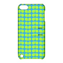 Blue Lime Leaf Pattern Apple Ipod Touch 5 Hardshell Case With Stand by creativemom