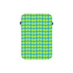 Blue Lime Leaf Pattern Apple iPad Mini Protective Sleeve by creativemom