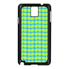 Blue Lime Leaf Pattern Samsung Galaxy Note 3 N9005 Case (black) by creativemom