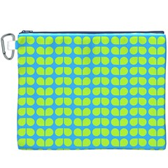 Blue Lime Leaf Pattern Canvas Cosmetic Bag (xxxl) by creativemom