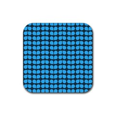 Blue Gray Leaf Pattern Drink Coasters 4 Pack (square) by creativemom