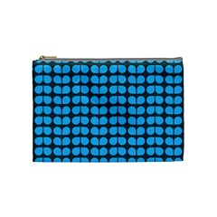 Blue Gray Leaf Pattern Cosmetic Bag (medium) by creativemom