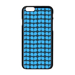 Blue Gray Leaf Pattern Apple Iphone 6 Black Enamel Case by creativemom