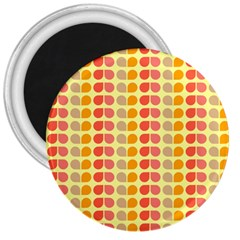 Colorful Leaf Pattern 3  Button Magnet by creativemom