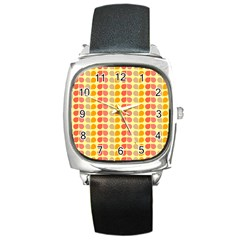 Colorful Leaf Pattern Square Leather Watch by creativemom