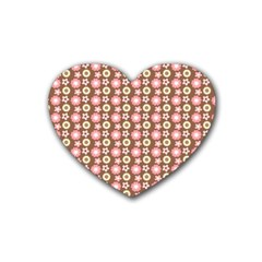 Cute Floral Pattern Drink Coasters 4 Pack (heart)  by creativemom