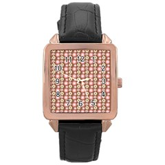 Cute Floral Pattern Rose Gold Leather Watch  by creativemom