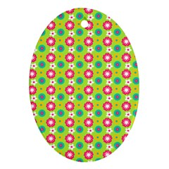 Cute Floral Pattern Oval Ornament by creativemom