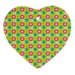 Cute Floral Pattern Heart Ornament (two Sides) by creativemom