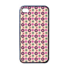 Cute Floral Pattern Apple Iphone 4 Case (black) by creativemom