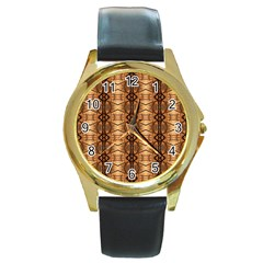 Faux Animal Print Pattern Round Leather Watch (gold Rim)  by creativemom