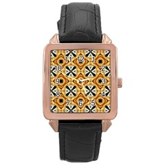Faux Animal Print Pattern Rose Gold Leather Watch  by creativemom