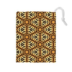 Faux Animal Print Pattern Drawstring Pouch (large) by creativemom