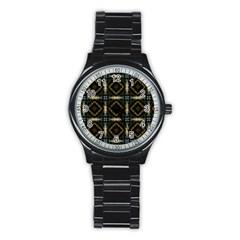 Faux Animal Print Pattern Sport Metal Watch (black) by creativemom