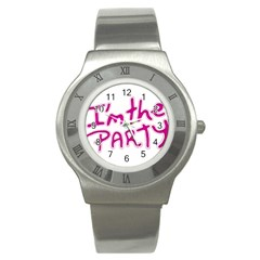 I Am The Party Typographic Design Quote Stainless Steel Watch (slim) by dflcprints