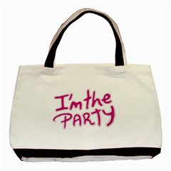 I Am The Party Typographic Design Quote Twin Sided Black Tote Bag by dflcprints
