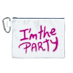 I Am The Party Typographic Design Quote Canvas Cosmetic Bag (large) by dflcprints