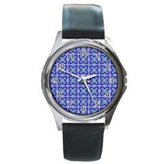Cute Pretty Elegant Pattern Round Leather Watch (silver Rim)
