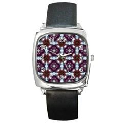 Cute Pretty Elegant Pattern Square Leather Watch by creativemom