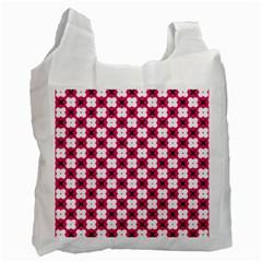 Cute Pretty Elegant Pattern White Reusable Bag (Two Sides) by creativemom