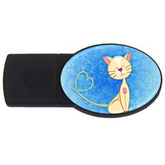 Cute Cat 4gb Usb Flash Drive (oval) by Colorfulart23