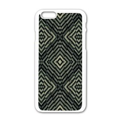 Geometric Futuristic Grunge Print Apple Iphone 6 White Enamel Case by dflcprints