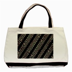 Organic Texture Stripe Pattern Twin Sided Black Tote Bag by dflcprints