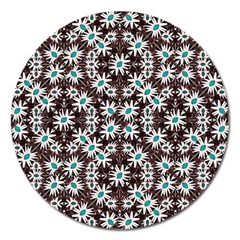 Modern Floral Geometric Pattern Magnet 5  (round) by dflcprints