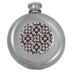 Modern Floral Geometric Pattern Hip Flask (round) by dflcprints