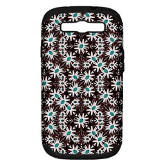 Modern Floral Geometric Pattern Samsung Galaxy S III Hardshell Case (PC+Silicone) by dflcprints