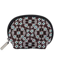 Modern Floral Geometric Pattern Accessory Pouch (small) by dflcprints